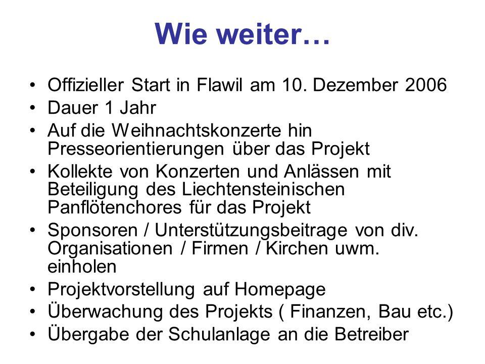 Wie weiter… Offizieller Start in Flawil am 10. Dezember 2006 Dauer 1 Jahr Auf die Weihnachtskonzerte hin Presseorientierungen über das Projekt Kollekt