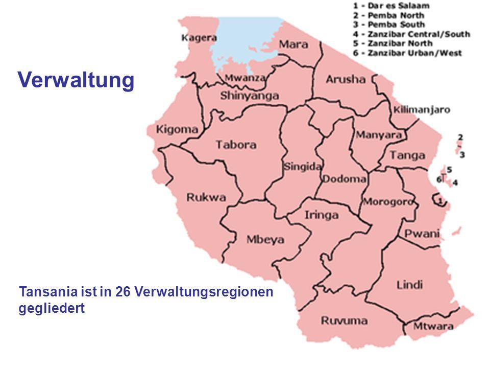 Verwaltung Tansania ist in 26 Verwaltungsregionen gegliedert