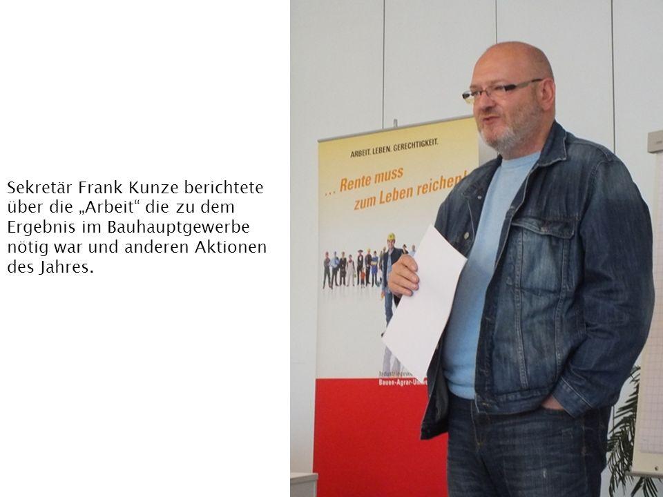 Sekretär Frank Kunze berichtete über die Arbeit die zu dem Ergebnis im Bauhauptgewerbe nötig war und anderen Aktionen des Jahres.