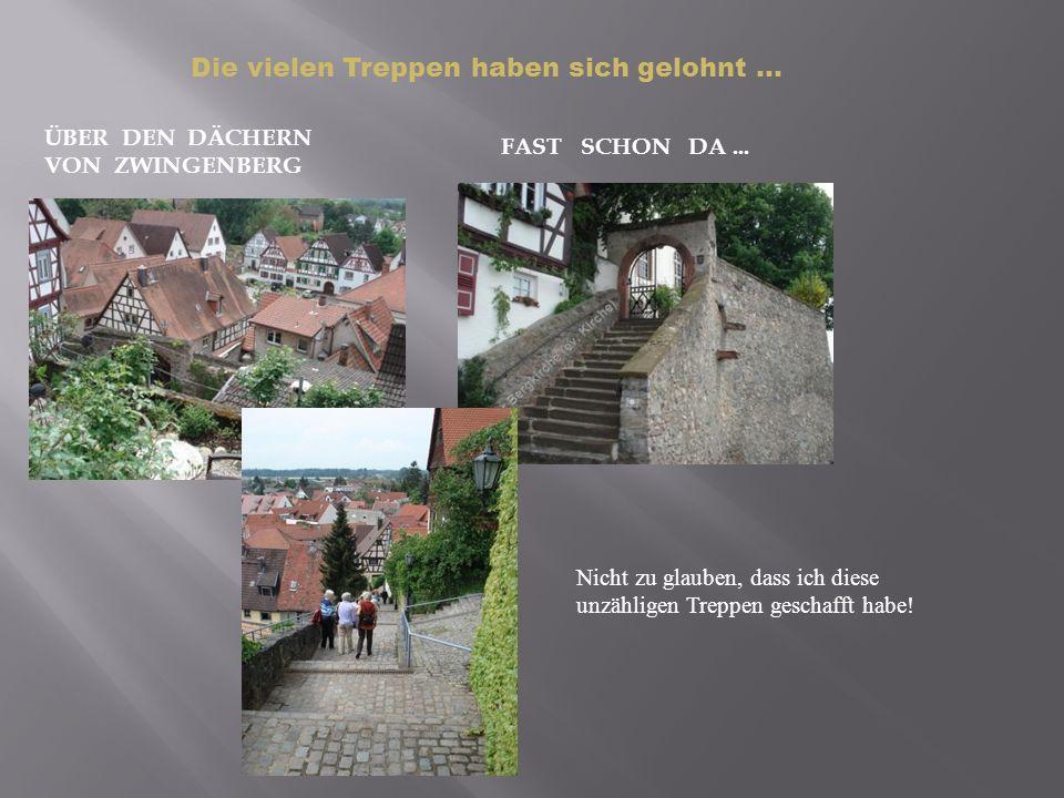 ÜBER DEN DÄCHERN VON ZWINGENBERG FAST SCHON DA... Nicht zu glauben, dass ich diese unzähligen Treppen geschafft habe! Die vielen Treppen haben sich ge