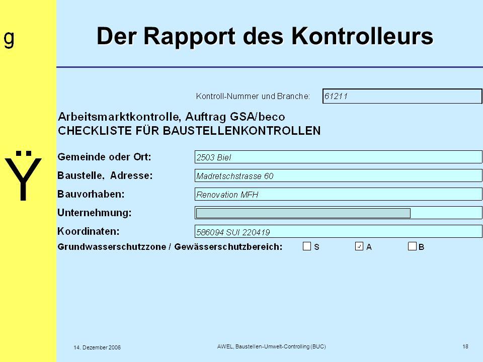 18 AWEL, Baustellen-Umwelt-Controlling (BUC) 14. Dezember 2006 Der Rapport des Kontrolleurs