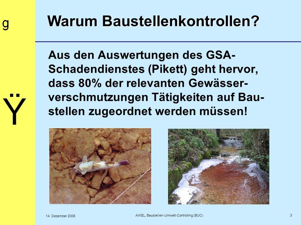 Aus den Auswertungen des GSA- Schadendienstes (Pikett) geht hervor, dass 80% der relevanten Gewässer- verschmutzungen Tätigkeiten auf Bau- stellen zug