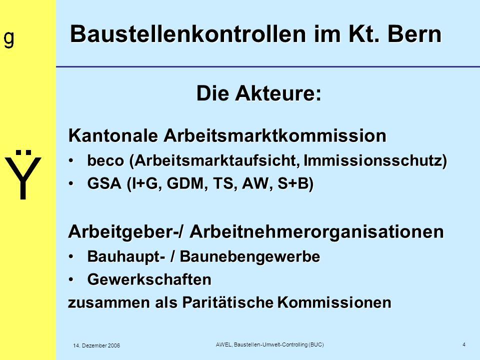 5 AWEL, Baustellen-Umwelt-Controlling (BUC) 14.Dezember 2006 BUC à la bernoise........