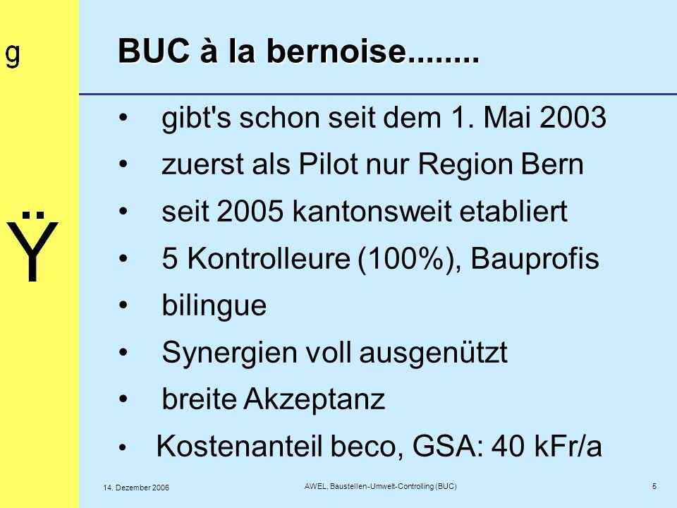 5 AWEL, Baustellen-Umwelt-Controlling (BUC) 14. Dezember 2006 BUC à la bernoise........ gibt's schon seit dem 1. Mai 2003 zuerst als Pilot nur Region