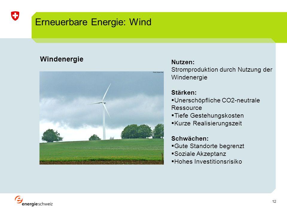 12 Windenergie production délectricité Erneuerbare Energie: Wind Nutzen: Stromproduktion durch Nutzung der Windenergie Stärken: Unerschöpfliche CO2-neutrale Ressource Tiefe Gestehungskosten Kurze Realisierungszeit Schwächen: Gute Standorte begrenzt Soziale Akzeptanz Hohes Investitionsrisiko