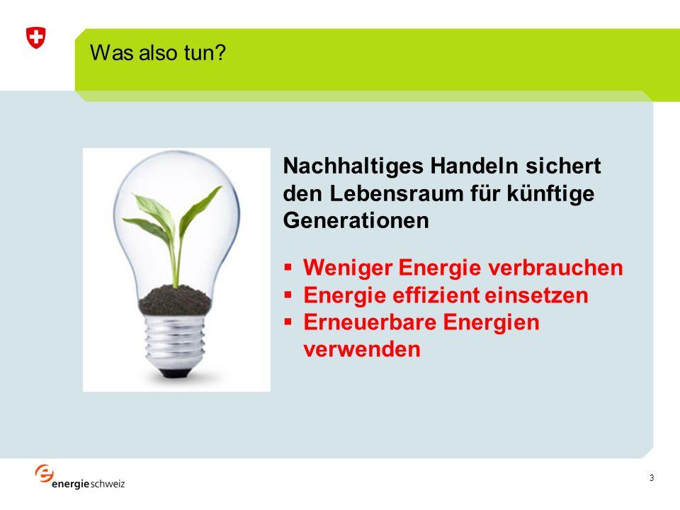 3 Was also tun? Weniger Energie verbrauchen Energie effizient einsetzen Erneuerbare Energien verwenden Nachhaltiges Handeln sichert den Lebensraum für