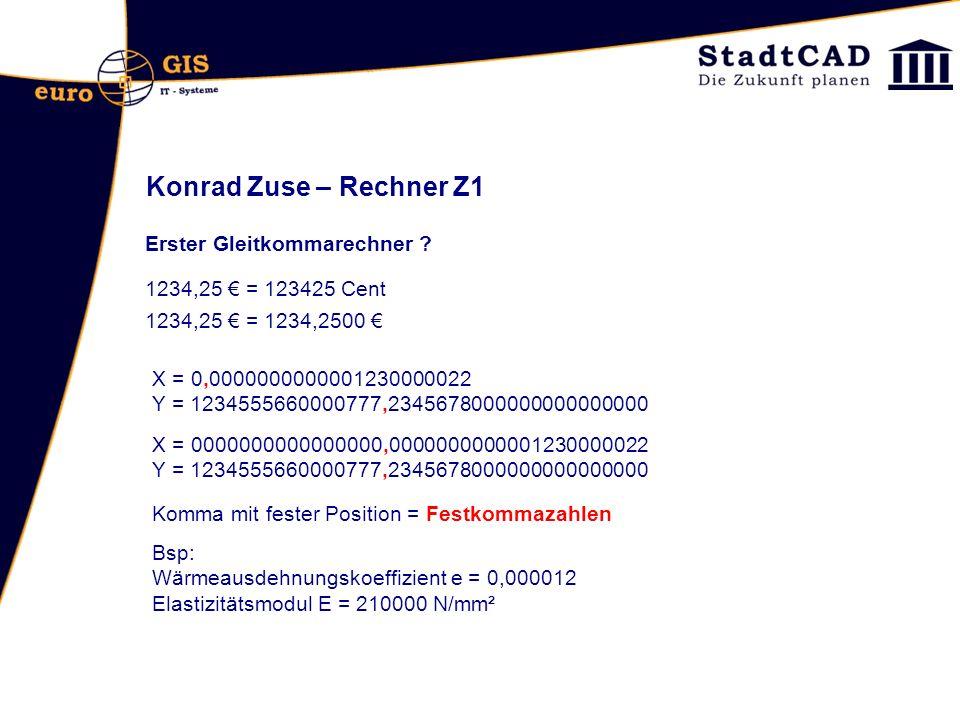Konrad Zuse – Rechner Z1 Erster Gleitkommarechner ? 1234,25 = 123425 Cent X = 0,0000000000001230000022 Y = 1234555660000777,2345678000000000000000 Kom