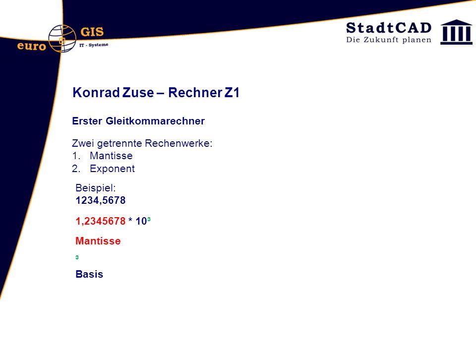 Konrad Zuse – Rechner Z1 Erster Gleitkommarechner Zwei getrennte Rechenwerke: 1.Mantisse 2.Exponent Beispiel: 1234,5678 1,2345678 * 10³ Mantisse ³ Bas