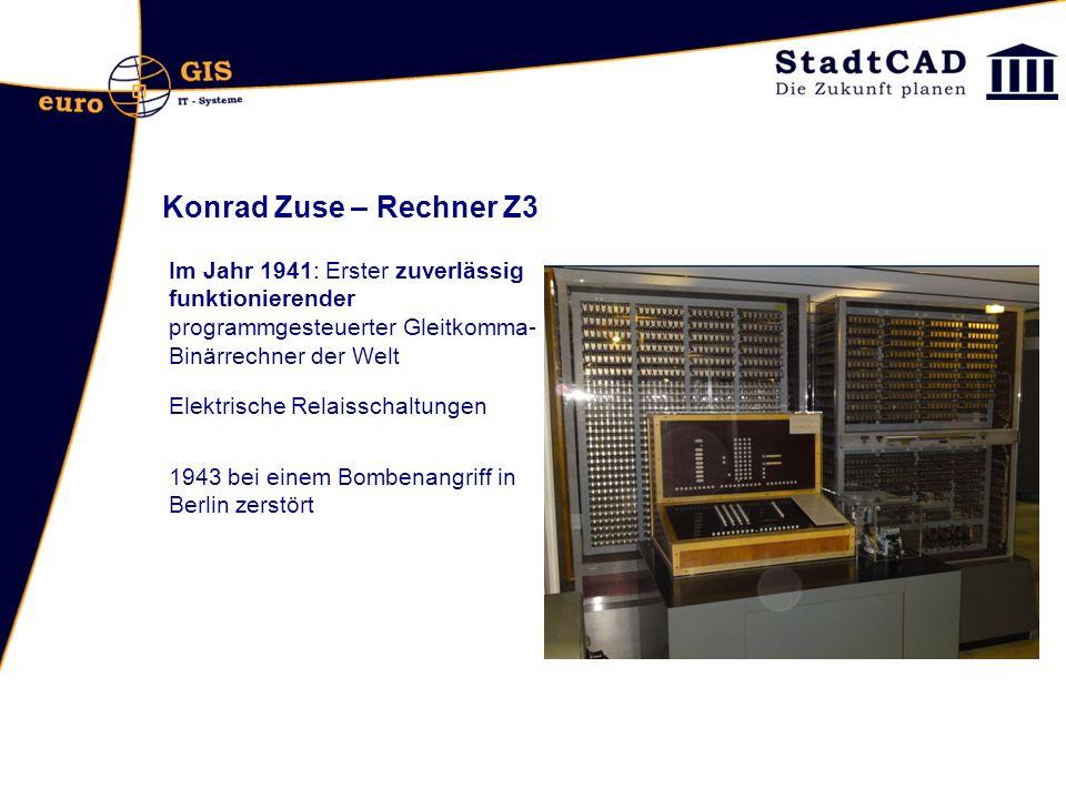 Konrad Zuse – Rechner Z3 Im Jahr 1941: Erster zuverlässig funktionierender programmgesteuerter Gleitkomma- Binärrechner der Welt Elektrische Relaissch