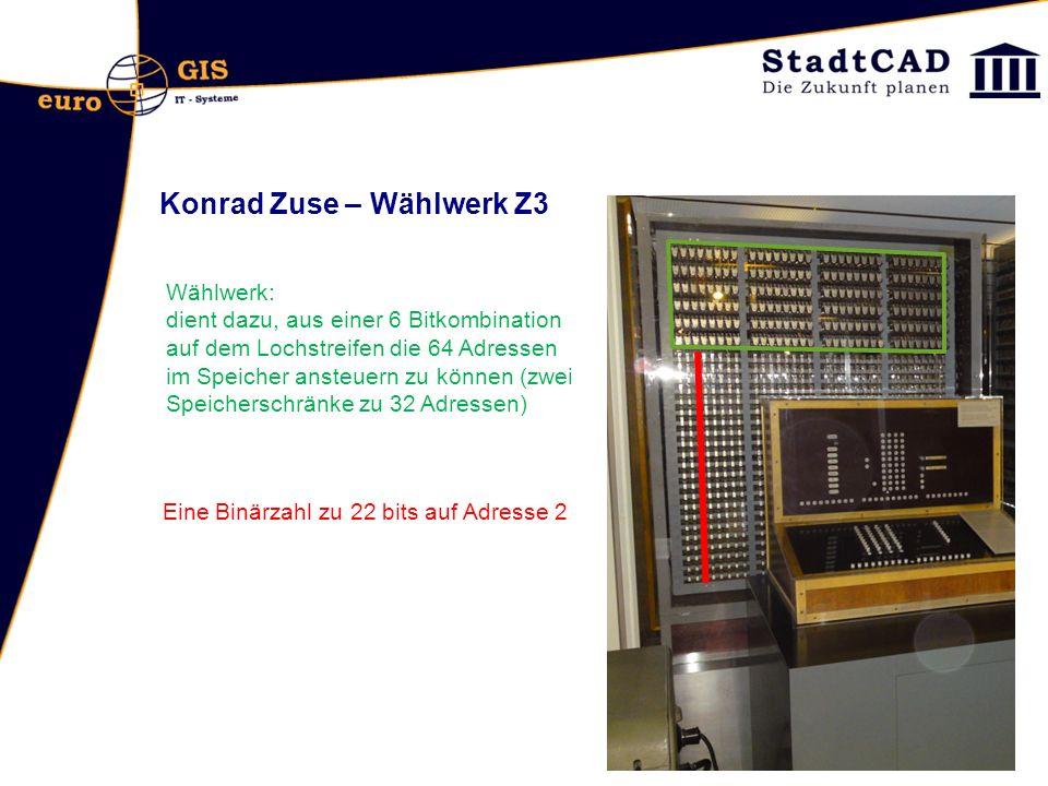 Konrad Zuse – Wählwerk Z3 Wählwerk: dient dazu, aus einer 6 Bitkombination auf dem Lochstreifen die 64 Adressen im Speicher ansteuern zu können (zwei