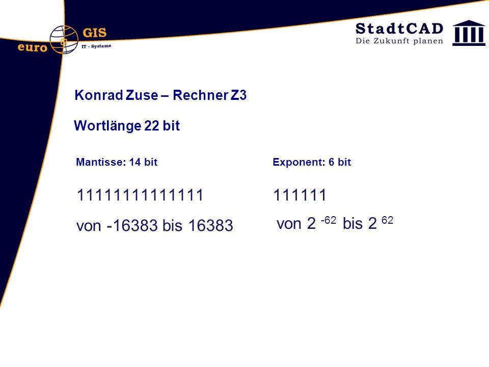 Konrad Zuse – Rechner Z3 Wortlänge 22 bit Mantisse: 14 bitExponent: 6 bit 11111111111111111111 von -16383 bis 16383 von 2 -62 bis 2 62