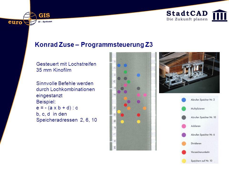 Konrad Zuse – Programmsteuerung Z3 Gesteuert mit Lochstreifen 35 mm Kinofilm Sinnvolle Befehle werden durch Lochkombinationen eingestanzt Beispiel: e