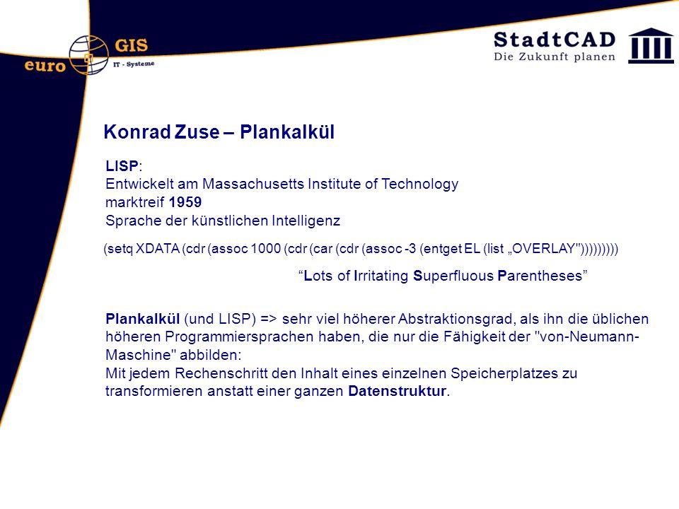 Konrad Zuse – Plankalkül Lots of Irritating Superfluous Parentheses LISP: Entwickelt am Massachusetts Institute of Technology marktreif 1959 Sprache d