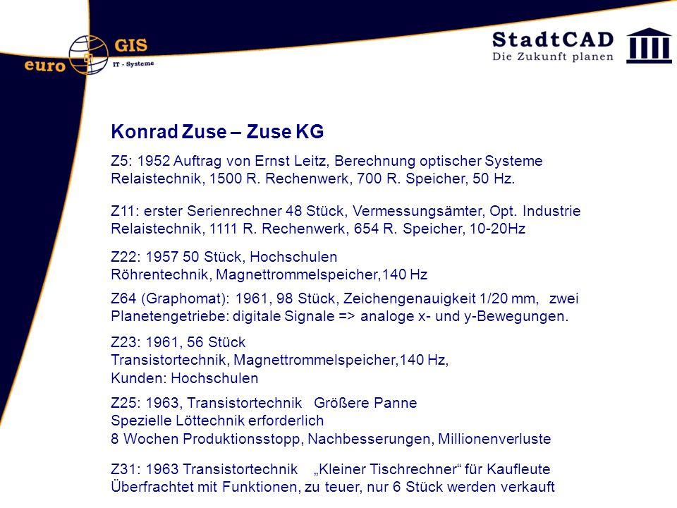 Konrad Zuse – Zuse KG Z5: 1952 Auftrag von Ernst Leitz, Berechnung optischer Systeme Relaistechnik, 1500 R. Rechenwerk, 700 R. Speicher, 50 Hz. Z22: 1