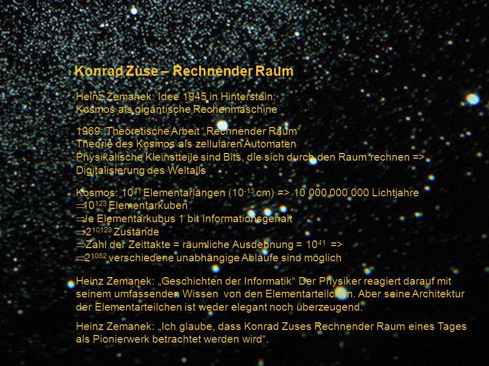 Konrad Zuse – Rechnender Raum Heinz Zemanek: Idee 1945 in Hinterstein: Kosmos als gigantische Rechenmaschine 1969: Theoretische Arbeit Rechnender Raum
