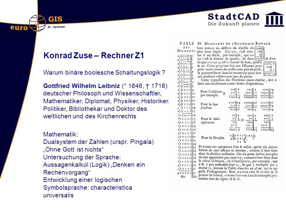Konrad Zuse – Rechner Z1 Warum binäre boolesche Schaltungslogik ? Gottfried Wilhelm Leibniz (* 1646, 1716) deutscher Philosoph und Wissenschaftler, Ma
