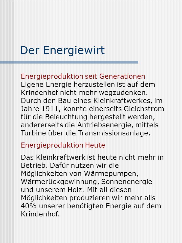 Der Energiewirt Energieproduktion seit Generationen Eigene Energie herzustellen ist auf dem Krindenhof nicht mehr wegzudenken. Durch den Bau eines Kle