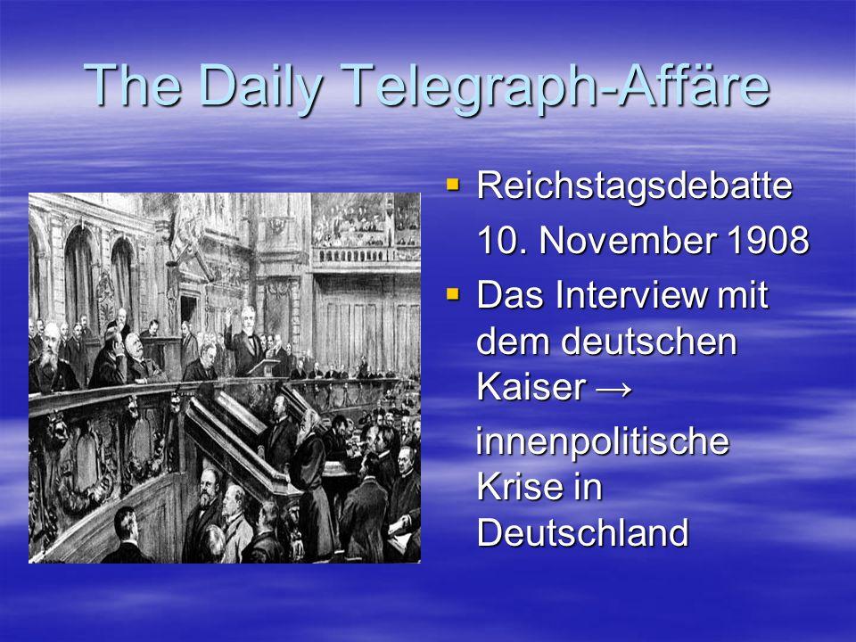 The Daily Telegraph-Affäre Reichstagsdebatte Reichstagsdebatte 10. November 1908 10. November 1908 Das Interview mit dem deutschen Kaiser Das Intervie