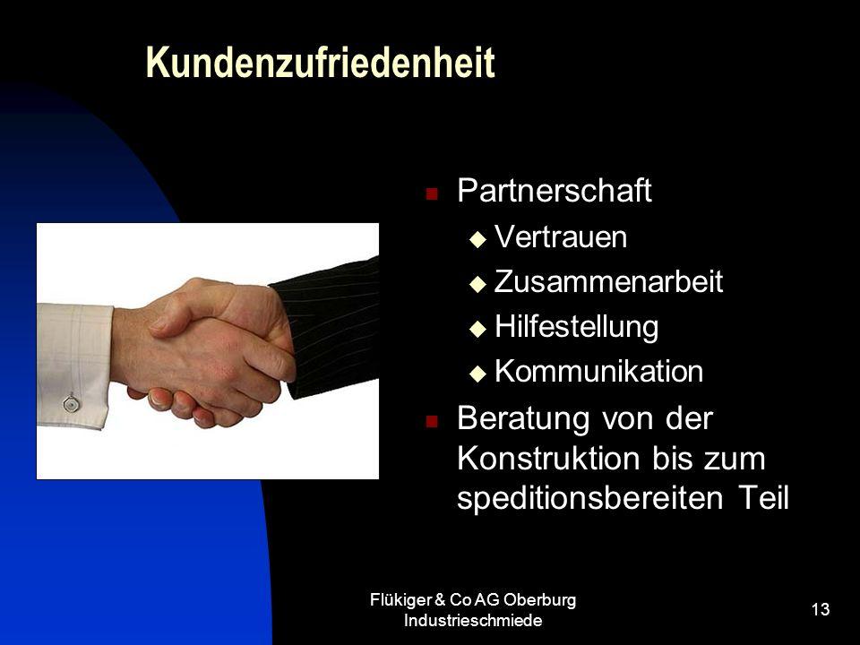 Flükiger & Co AG Oberburg Industrieschmiede 13 Kundenzufriedenheit Partnerschaft Vertrauen Zusammenarbeit Hilfestellung Kommunikation Beratung von der