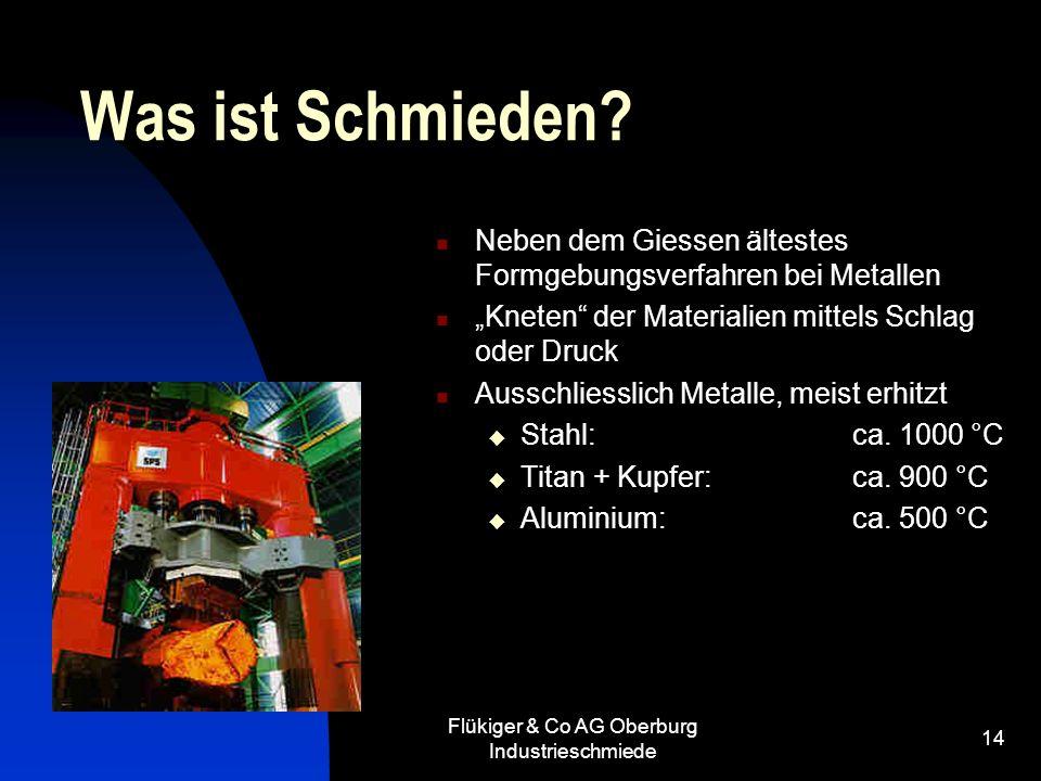 Flükiger & Co AG Oberburg Industrieschmiede 14 Was ist Schmieden? Neben dem Giessen ältestes Formgebungsverfahren bei Metallen Kneten der Materialien