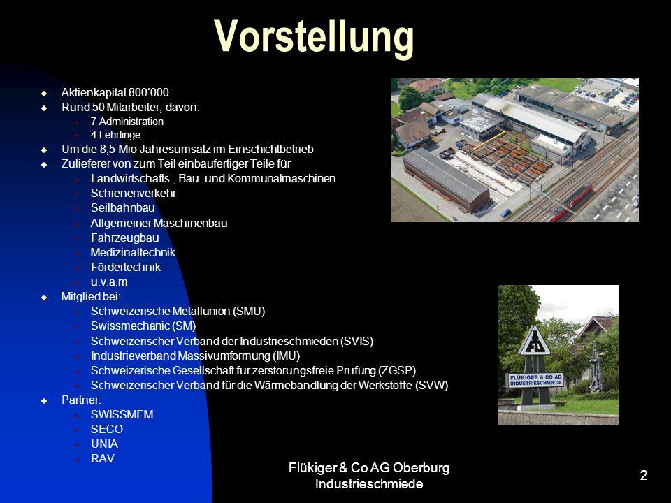 Flükiger & Co AG Oberburg Industrieschmiede 2 Vorstellung Aktienkapital 800000.-- Rund 50 Mitarbeiter, davon: 7 Administration 4 Lehrlinge Um die 8,5