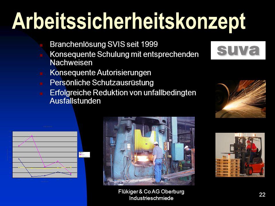 Flükiger & Co AG Oberburg Industrieschmiede 22 Arbeitssicherheitskonzept Branchenlösung SVIS seit 1999 Konsequente Schulung mit entsprechenden Nachwei