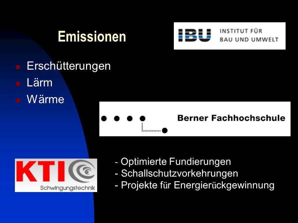 Emissionen Erschütterungen Lärm Wärme - Optimierte Fundierungen - Schallschutzvorkehrungen - Projekte f ü r Energier ü ckgewinnung