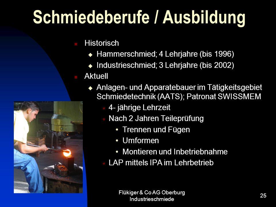 Flükiger & Co AG Oberburg Industrieschmiede 25 Schmiedeberufe / Ausbildung Historisch Hammerschmied; 4 Lehrjahre (bis 1996) Industrieschmied; 3 Lehrja