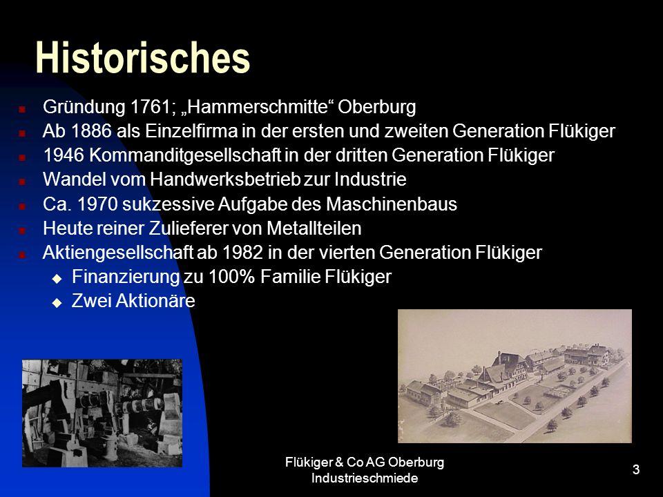 Flükiger & Co AG Oberburg Industrieschmiede 3 Historisches Gründung 1761; Hammerschmitte Oberburg Ab 1886 als Einzelfirma in der ersten und zweiten Ge