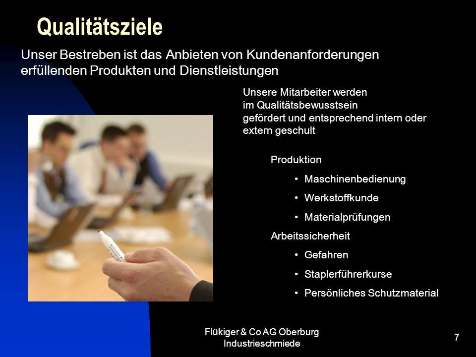 Flükiger & Co AG Oberburg Industrieschmiede 7 Qualitätsziele Unser Bestreben ist das Anbieten von Kundenanforderungen erfüllenden Produkten und Dienst