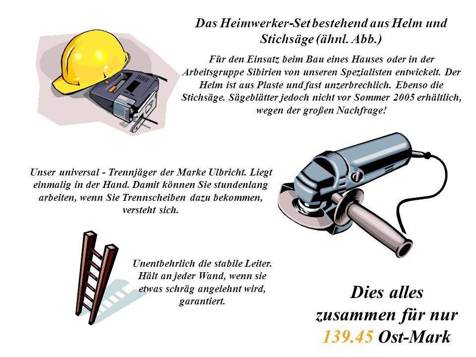 Das Heimwerker-Set bestehend aus Helm und Stichsäge (ähnl.