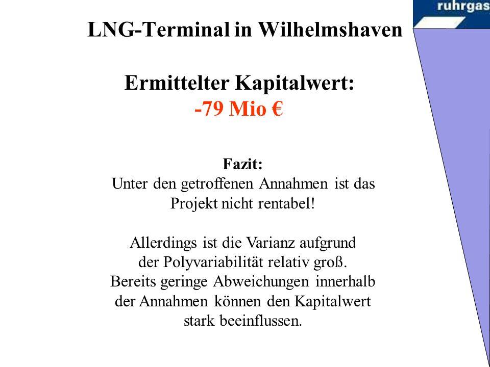 LNG-Terminal in Wilhelmshaven Fazit: Unter den getroffenen Annahmen ist das Projekt nicht rentabel.