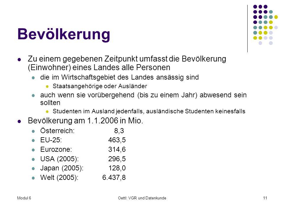 Modul 6Oettl: VGR und Datenkunde11 Bevölkerung Zu einem gegebenen Zeitpunkt umfasst die Bevölkerung (Einwohner) eines Landes alle Personen die im Wirt