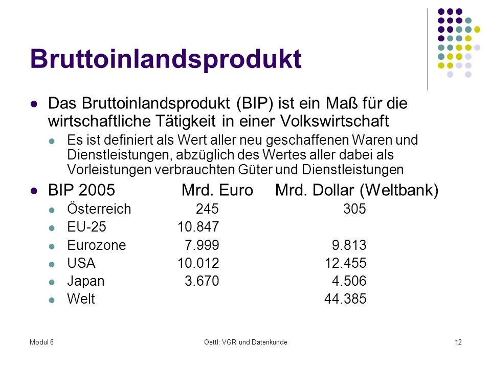 Modul 6Oettl: VGR und Datenkunde12 Bruttoinlandsprodukt Das Bruttoinlandsprodukt (BIP) ist ein Maß für die wirtschaftliche Tätigkeit in einer Volkswir