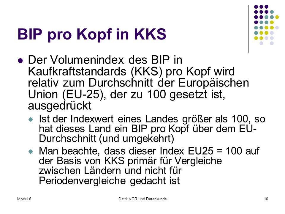 Modul 6Oettl: VGR und Datenkunde16 BIP pro Kopf in KKS Der Volumenindex des BIP in Kaufkraftstandards (KKS) pro Kopf wird relativ zum Durchschnitt der