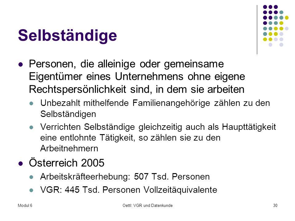 Modul 6Oettl: VGR und Datenkunde30 Selbständige Personen, die alleinige oder gemeinsame Eigentümer eines Unternehmens ohne eigene Rechtspersönlichkeit