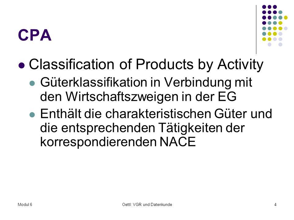 Modul 6Oettl: VGR und Datenkunde4 CPA Classification of Products by Activity Güterklassifikation in Verbindung mit den Wirtschaftszweigen in der EG En