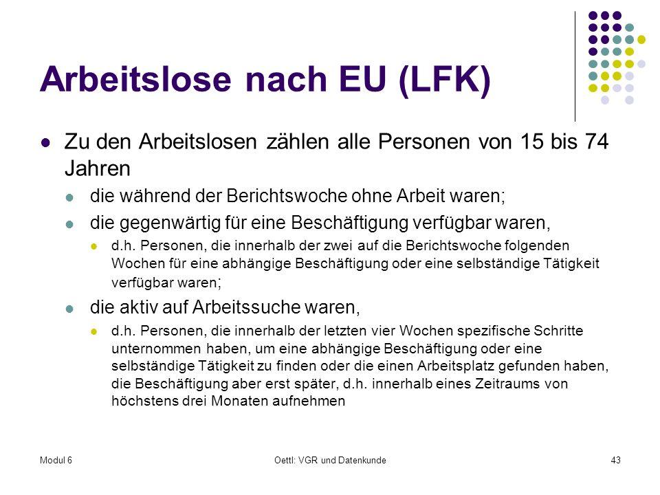 Modul 6Oettl: VGR und Datenkunde43 Arbeitslose nach EU (LFK) Zu den Arbeitslosen zählen alle Personen von 15 bis 74 Jahren die während der Berichtswoc