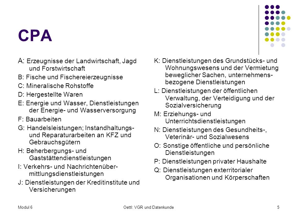 Modul 6Oettl: VGR und Datenkunde5 CPA A: Erzeugnisse der Landwirtschaft, Jagd und Forstwirtschaft B: Fische und Fischereierzeugnisse C: Mineralische R