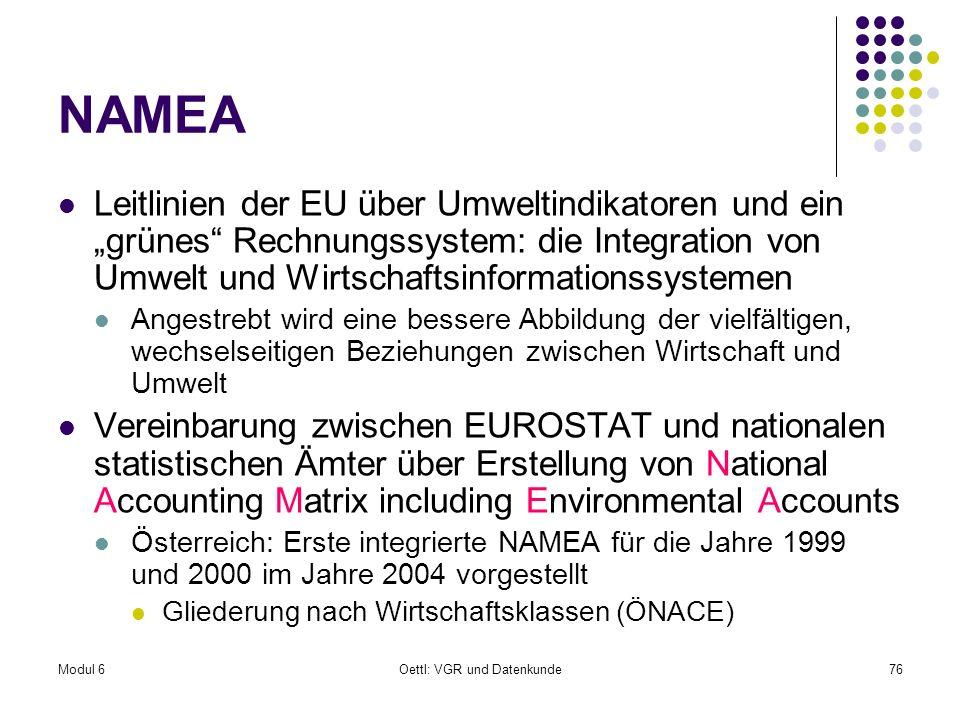 Modul 6Oettl: VGR und Datenkunde76 NAMEA Leitlinien der EU über Umweltindikatoren und ein grünes Rechnungssystem: die Integration von Umwelt und Wirts