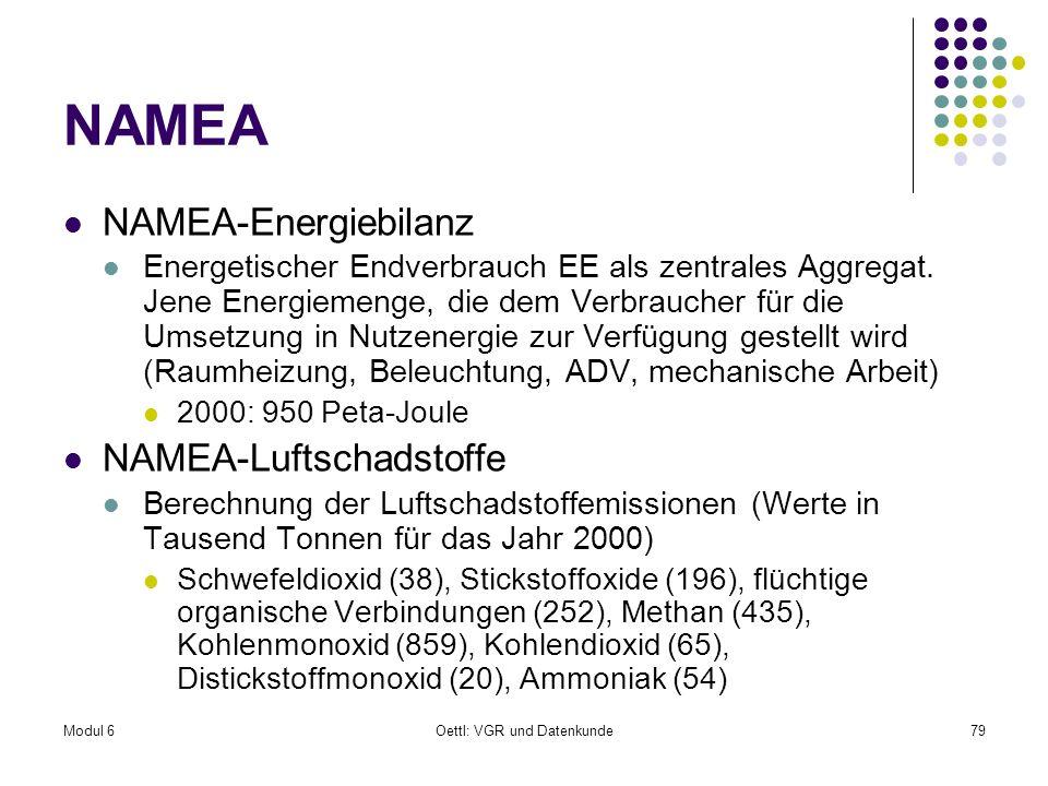 Modul 6Oettl: VGR und Datenkunde79 NAMEA NAMEA-Energiebilanz Energetischer Endverbrauch EE als zentrales Aggregat. Jene Energiemenge, die dem Verbrauc