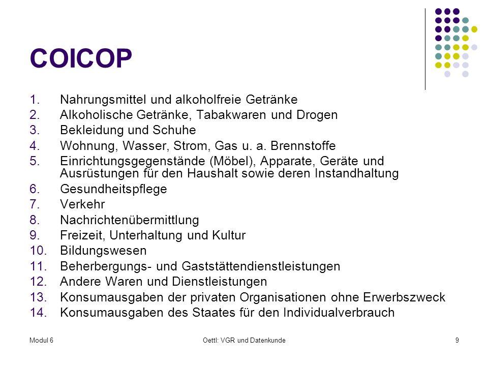 Modul 6Oettl: VGR und Datenkunde9 COICOP 1.Nahrungsmittel und alkoholfreie Getränke 2.Alkoholische Getränke, Tabakwaren und Drogen 3.Bekleidung und Sc