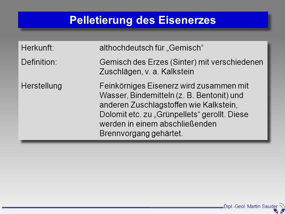 Herkunft: althochdeutsch für Gemisch Definition:Gemisch des Erzes (Sinter) mit verschiedenen Zuschlägen, v. a. Kalkstein HerstellungFeinkörniges Eisen