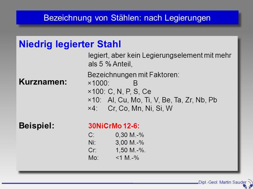 Bezeichnung von Stählen: nach Legierungen Niedrig legierter Stahl legiert, aber kein Legierungselement mit mehr als 5 % Anteil, Kurznamen: Beispiel: 3