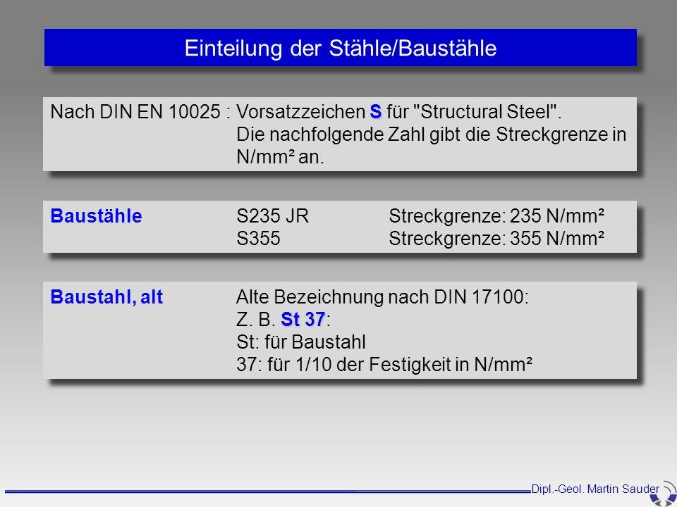 Baustahl, altAlte Bezeichnung nach DIN 17100: St 37 Z. B. St 37: St: für Baustahl 37: für 1/10 der Festigkeit in N/mm² Baustahl, altAlte Bezeichnung n