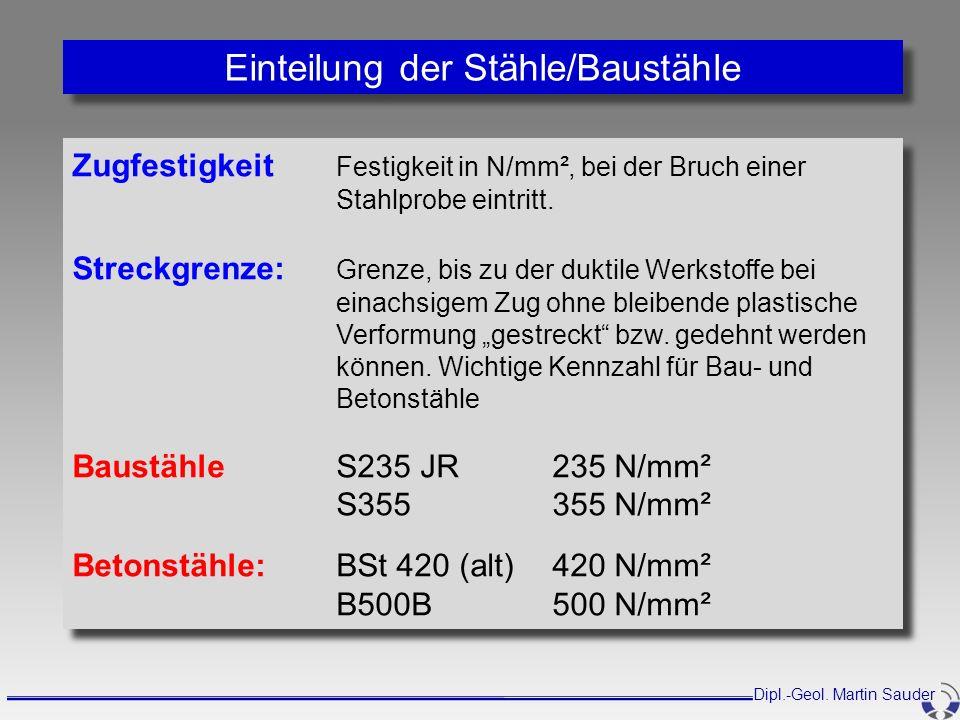 Zugfestigkeit Festigkeit in N/mm², bei der Bruch einer Stahlprobe eintritt. Streckgrenze: Grenze, bis zu der duktile Werkstoffe bei einachsigem Zug oh