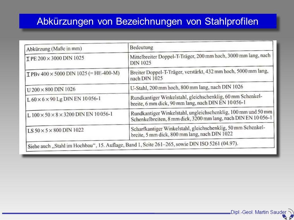 Abkürzungen von Bezeichnungen von Stahlprofilen Dipl.-Geol. Martin Sauder