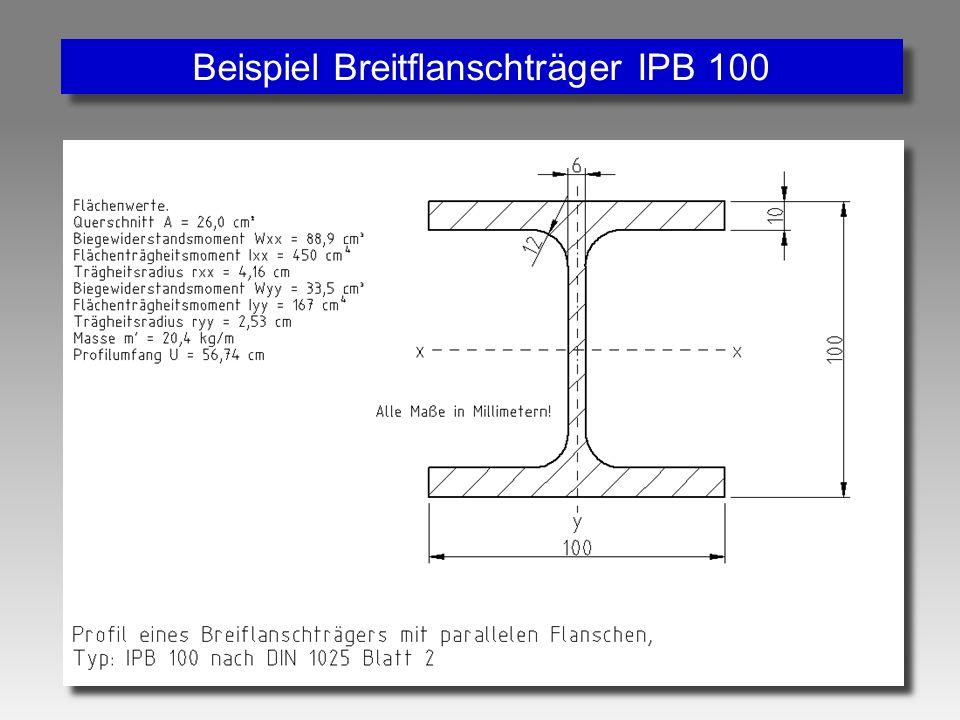 Beispiel Breitflanschträger IPB 100