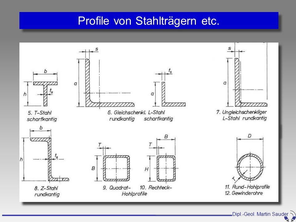 Profile von Stahlträgern etc. Dipl.-Geol. Martin Sauder