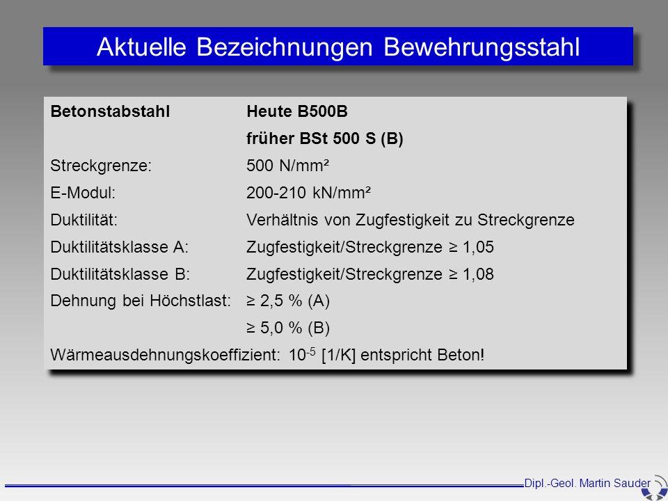 Aktuelle Bezeichnungen Bewehrungsstahl BetonstabstahlHeute B500B früher BSt 500 S (B) Streckgrenze:500 N/mm² E-Modul:200-210 kN/mm² Duktilität: Verhäl